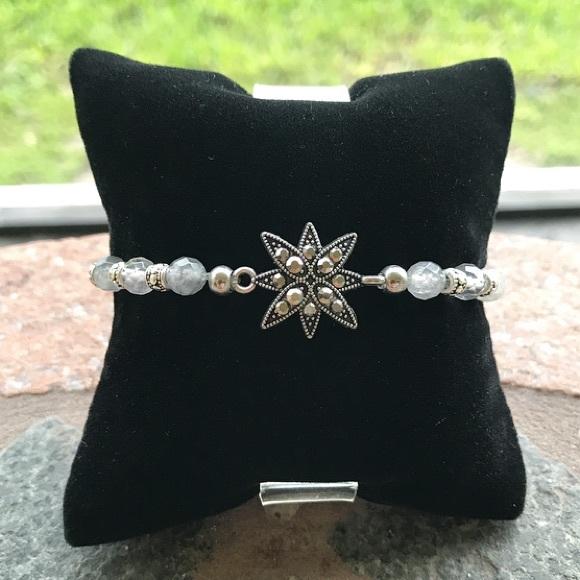 Silverskylight Jewelry - Diamond cut smokey grey quartz marcasite bracelet